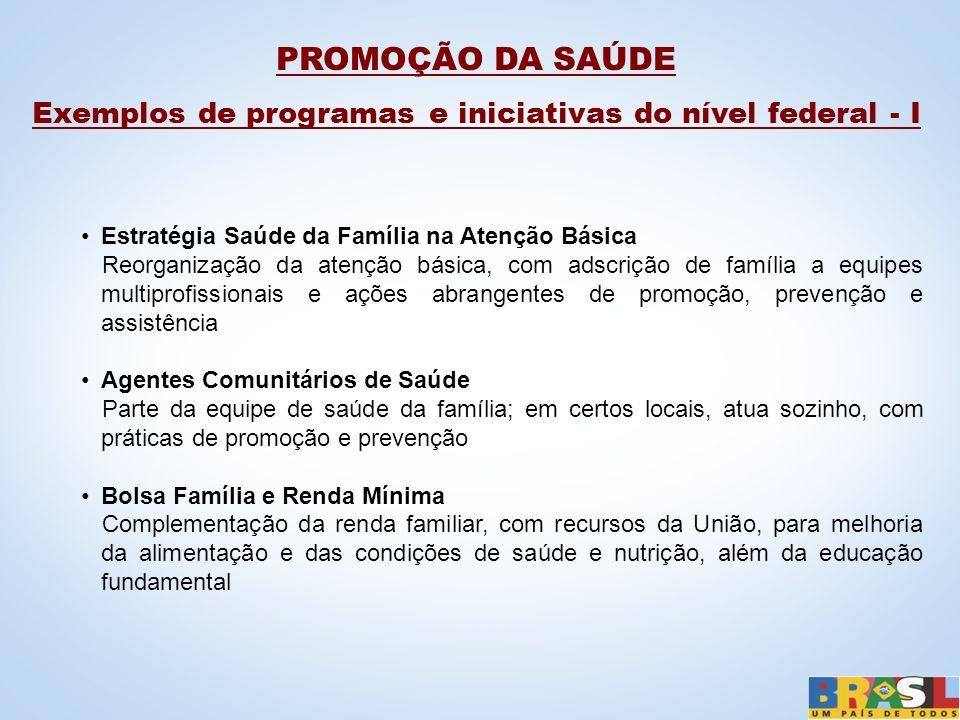 Exemplos de programas e iniciativas do nível federal - I