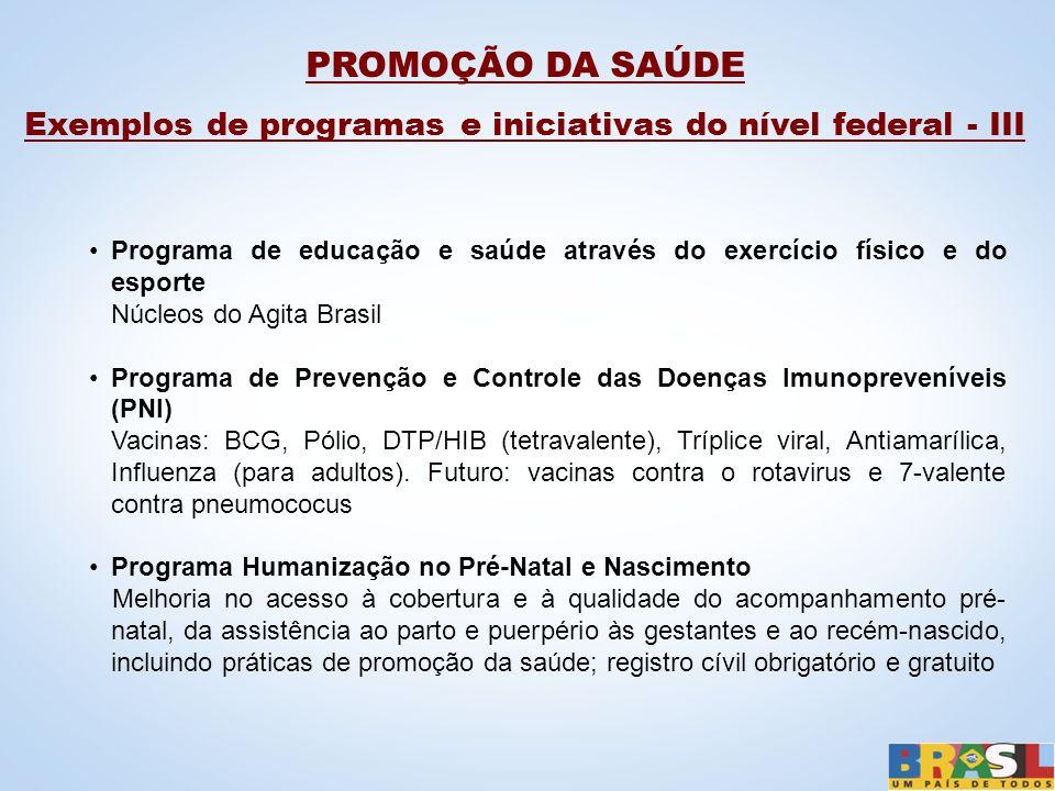 Exemplos de programas e iniciativas do nível federal - III