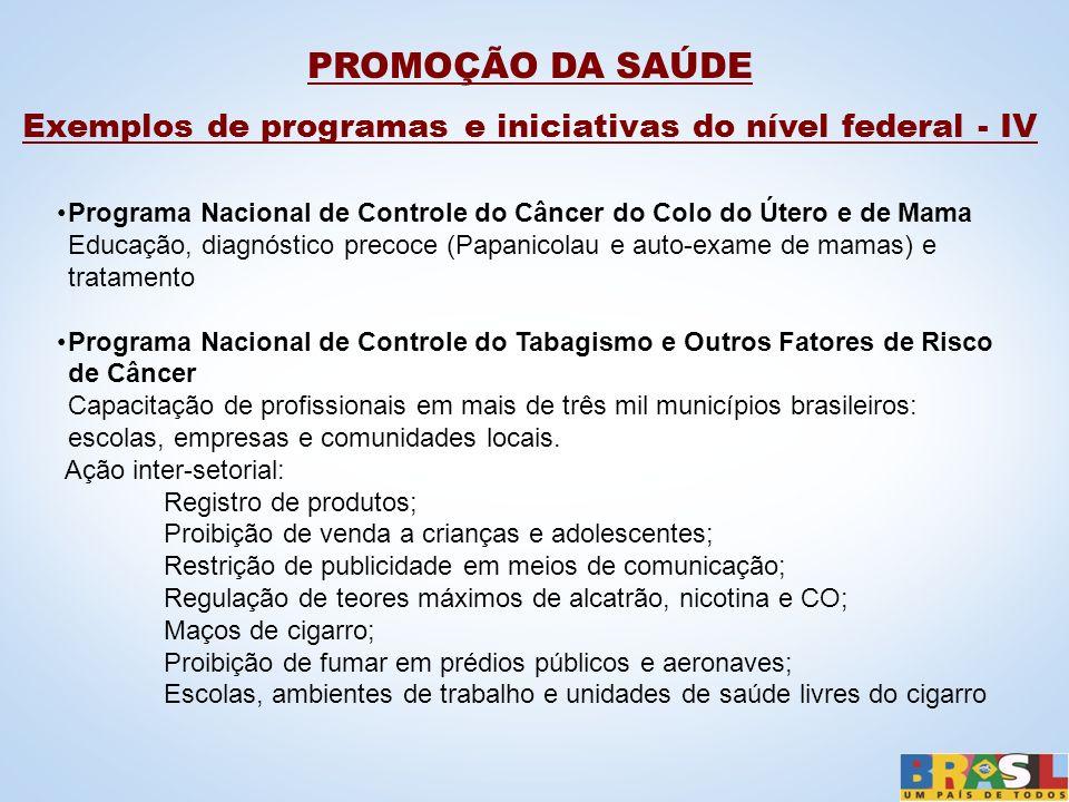 Exemplos de programas e iniciativas do nível federal - IV