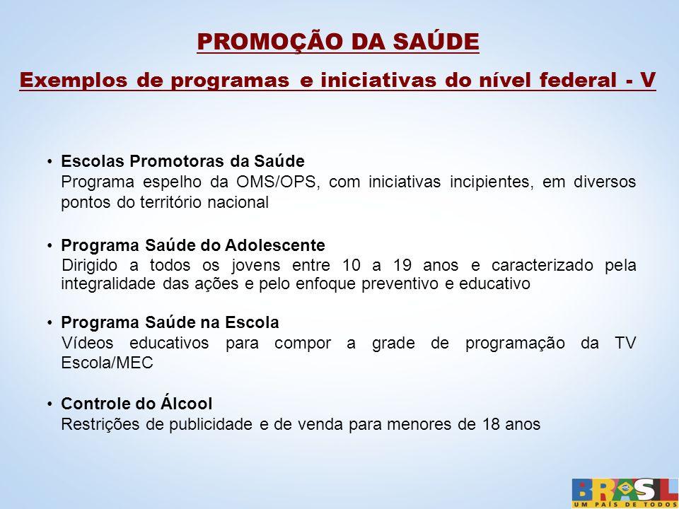 Exemplos de programas e iniciativas do nível federal - V