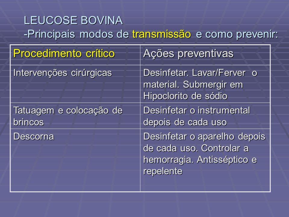 LEUCOSE BOVINA -Principais modos de transmissão e como prevenir:
