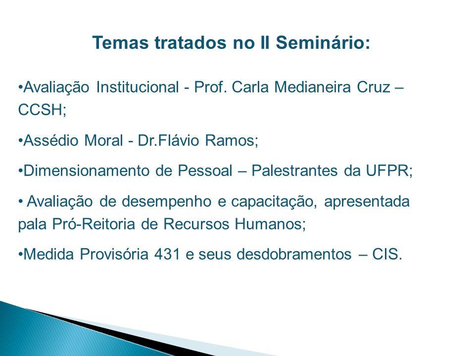 Temas tratados no II Seminário:
