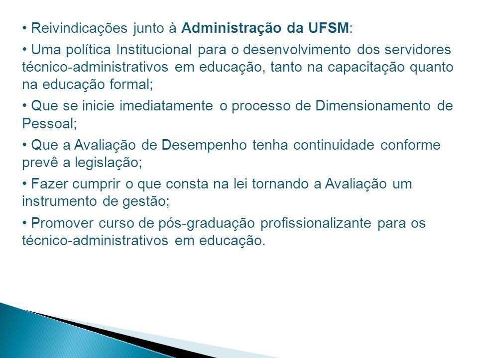 Reivindicações junto à Administração da UFSM: