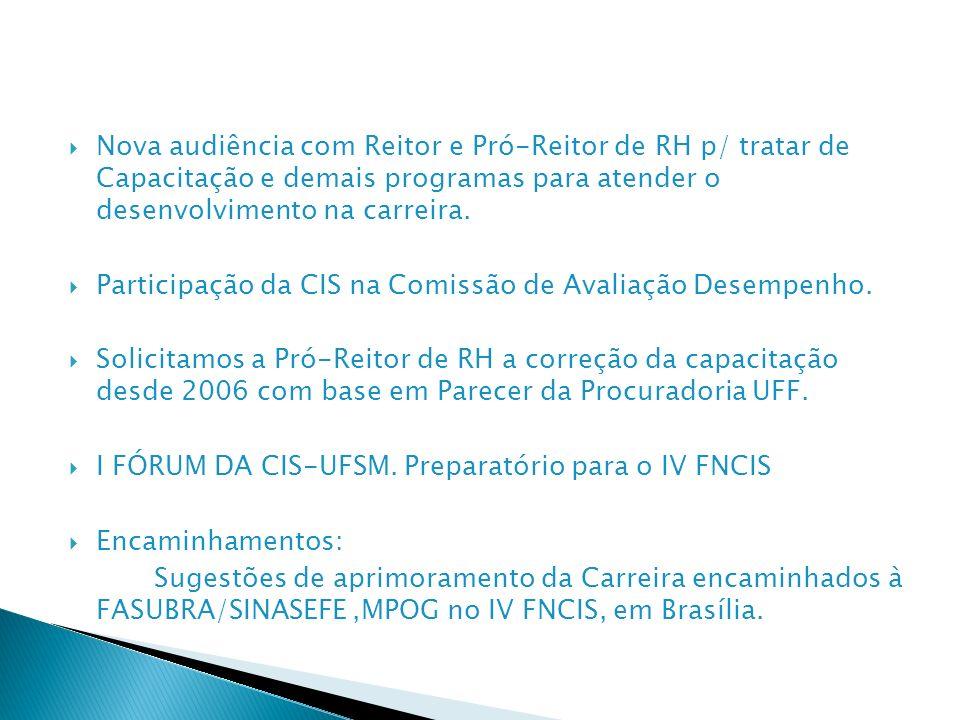 Nova audiência com Reitor e Pró-Reitor de RH p/ tratar de Capacitação e demais programas para atender o desenvolvimento na carreira.