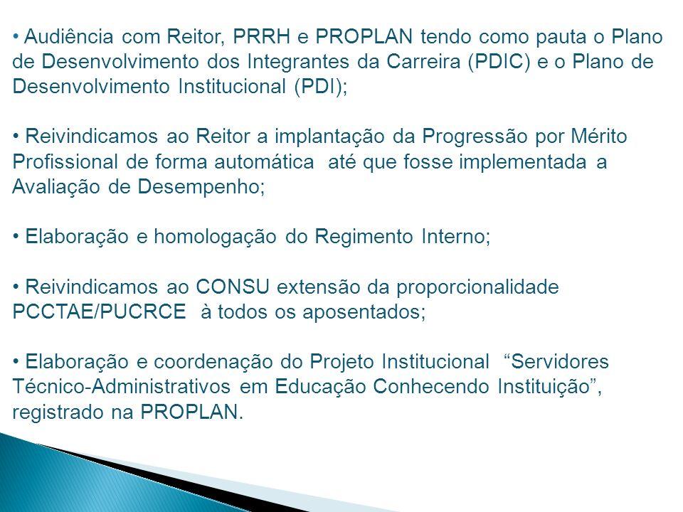 Audiência com Reitor, PRRH e PROPLAN tendo como pauta o Plano de Desenvolvimento dos Integrantes da Carreira (PDIC) e o Plano de Desenvolvimento Institucional (PDI);