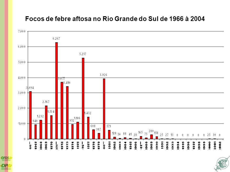 Focos de febre aftosa no Rio Grande do Sul de 1966 à 2004