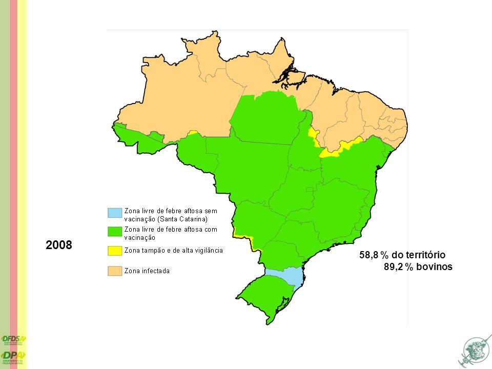 2008 58,8 % do território 89,2 % bovinos