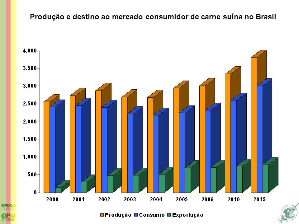 Produção e destino ao mercado consumidor de carne suína no Brasil