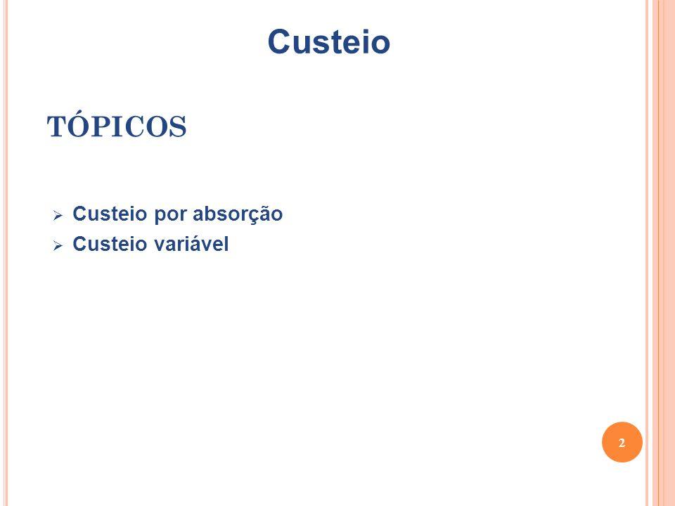 Custeio TÓPICOS Custeio por absorção Custeio variável