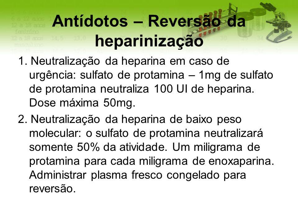 Antídotos – Reversão da heparinização