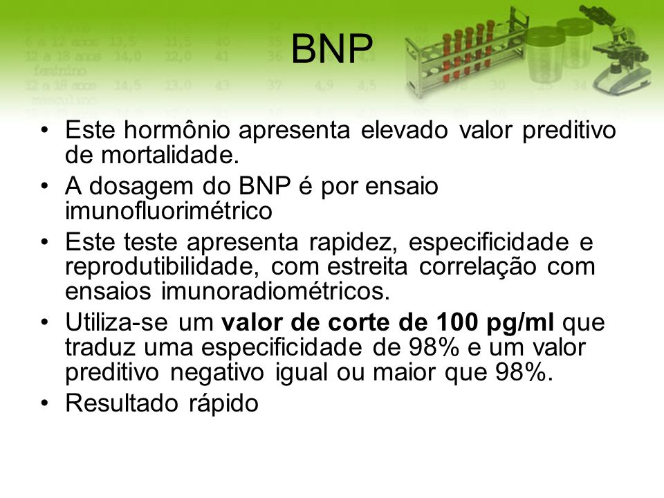 BNP Este hormônio apresenta elevado valor preditivo de mortalidade.