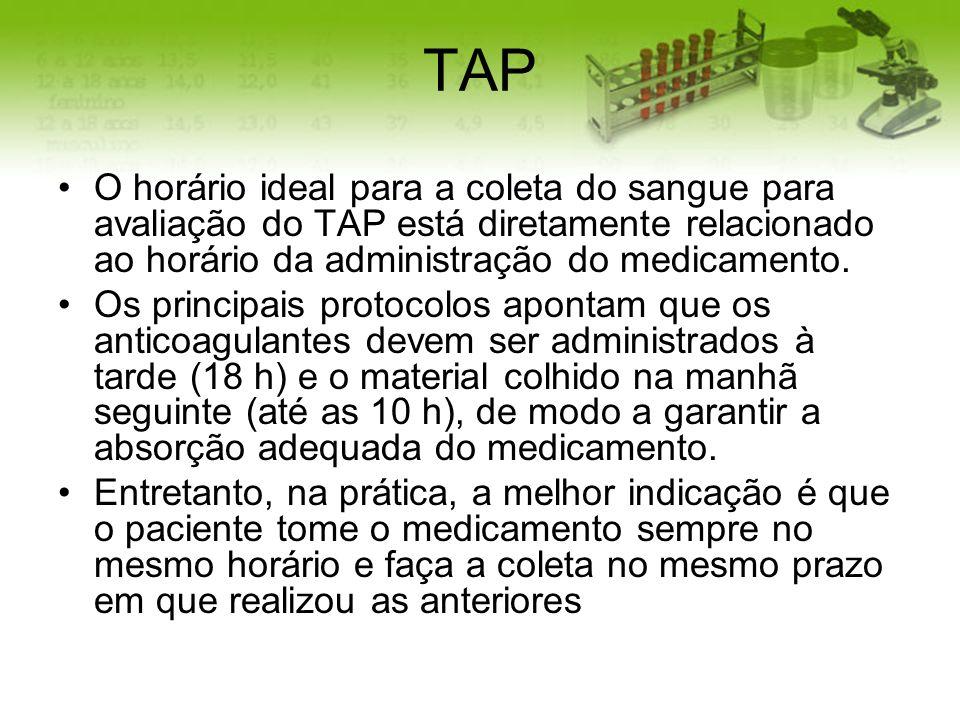 TAP O horário ideal para a coleta do sangue para avaliação do TAP está diretamente relacionado ao horário da administração do medicamento.