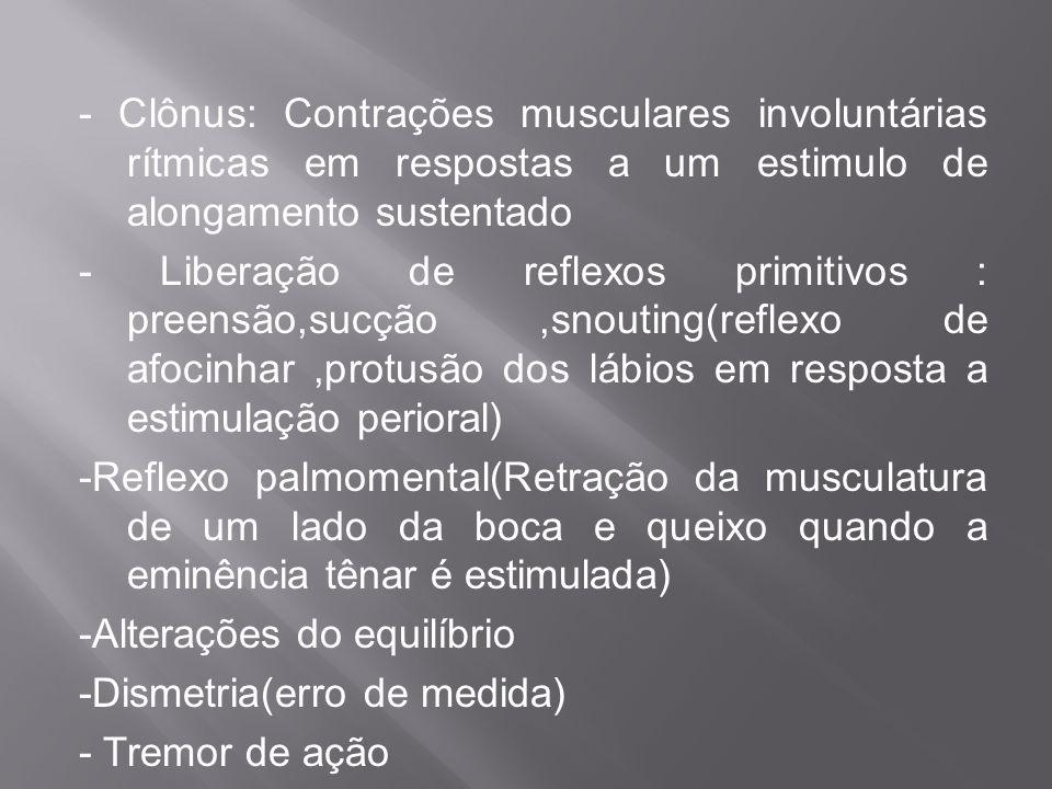 - Clônus: Contrações musculares involuntárias rítmicas em respostas a um estimulo de alongamento sustentado