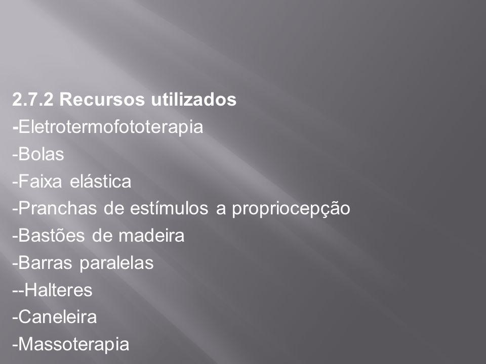2.7.2 Recursos utilizados -Eletrotermofototerapia -Bolas -Faixa elástica -Pranchas de estímulos a propriocepção -Bastões de madeira -Barras paralelas --Halteres -Caneleira -Massoterapia