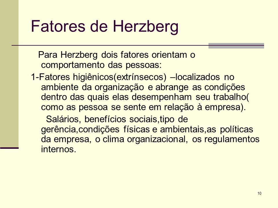 Fatores de Herzberg Para Herzberg dois fatores orientam o comportamento das pessoas: