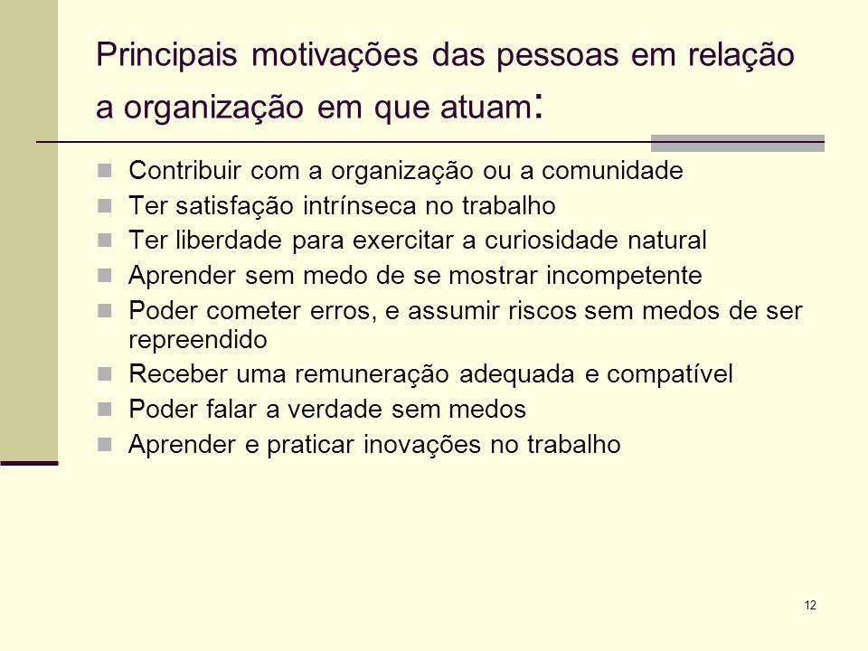 Principais motivações das pessoas em relação a organização em que atuam: