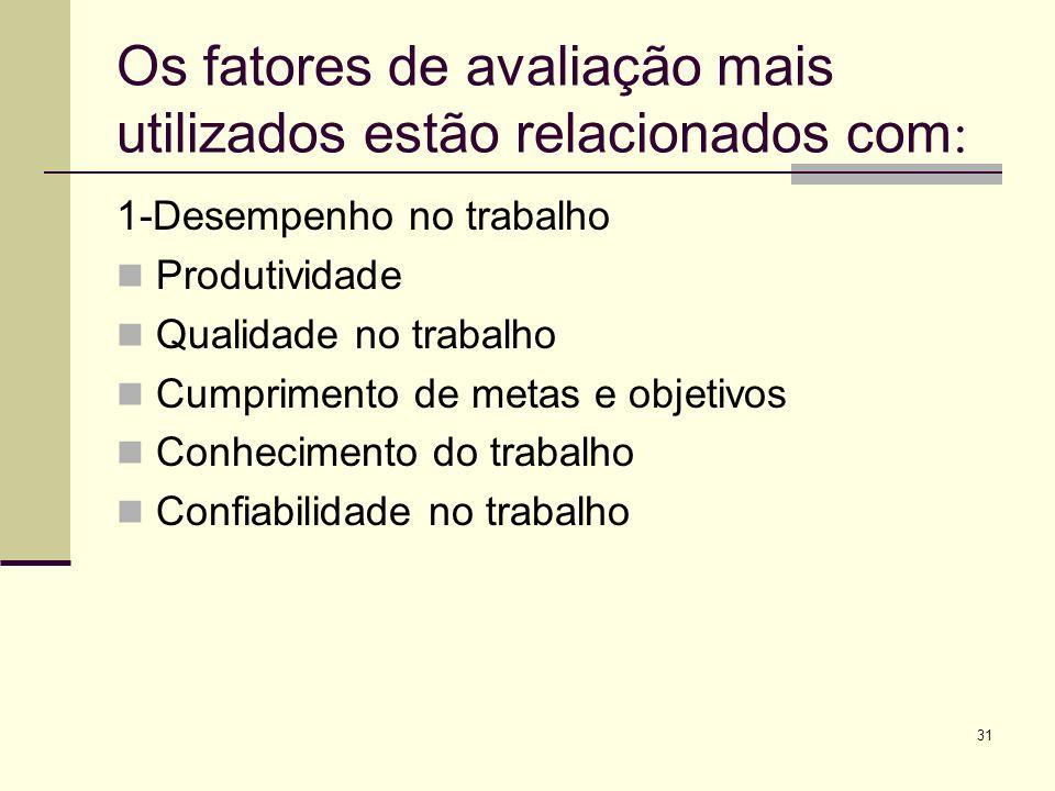 Os fatores de avaliação mais utilizados estão relacionados com: