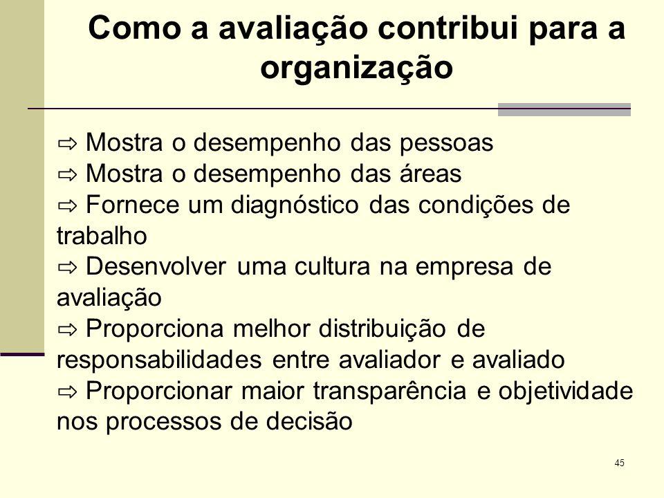 Como a avaliação contribui para a organização