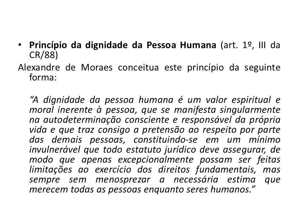Princípio da dignidade da Pessoa Humana (art. 1º, III da CR/88)
