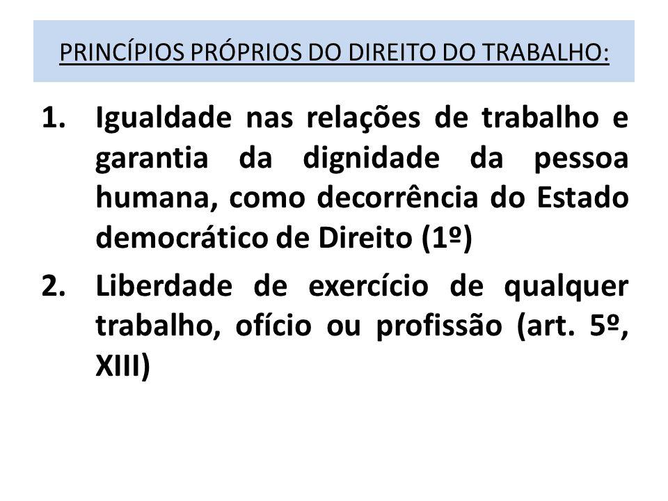 PRINCÍPIOS PRÓPRIOS DO DIREITO DO TRABALHO: