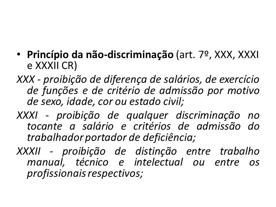 Princípio da não-discriminação (art. 7º, XXX, XXXI e XXXII CR)
