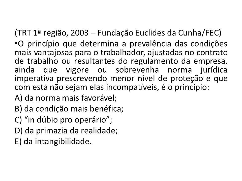 (TRT 1ª região, 2003 – Fundação Euclides da Cunha/FEC)