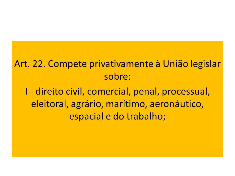 Art. 22. Compete privativamente à União legislar sobre: