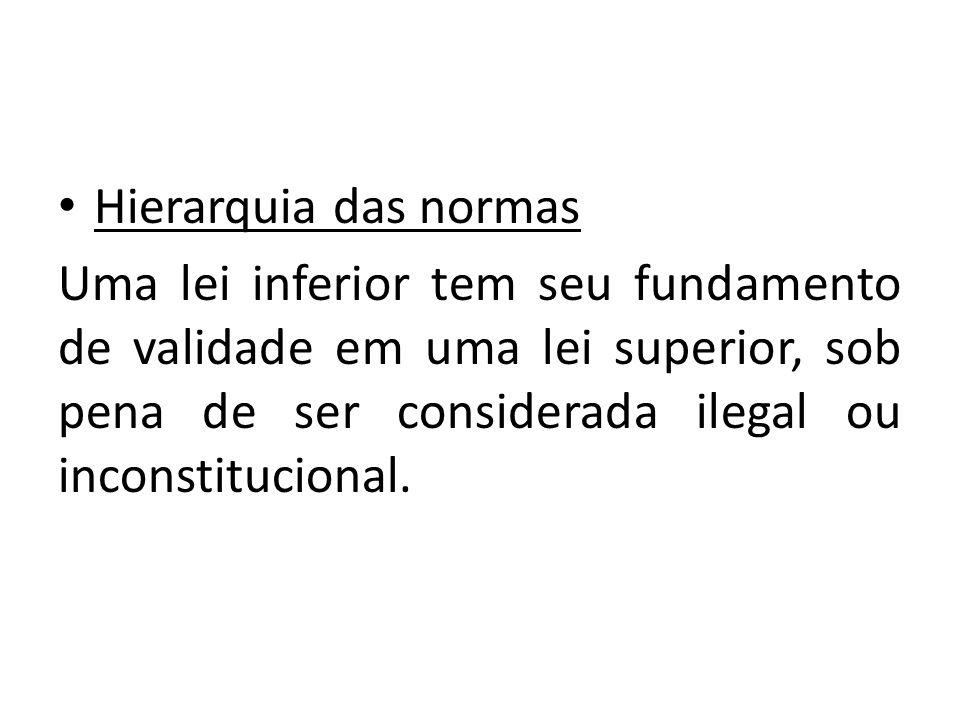 Hierarquia das normas Uma lei inferior tem seu fundamento de validade em uma lei superior, sob pena de ser considerada ilegal ou inconstitucional.