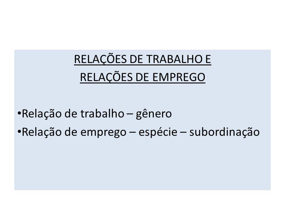 RELAÇÕES DE TRABALHO E RELAÇÕES DE EMPREGO. Relação de trabalho – gênero.