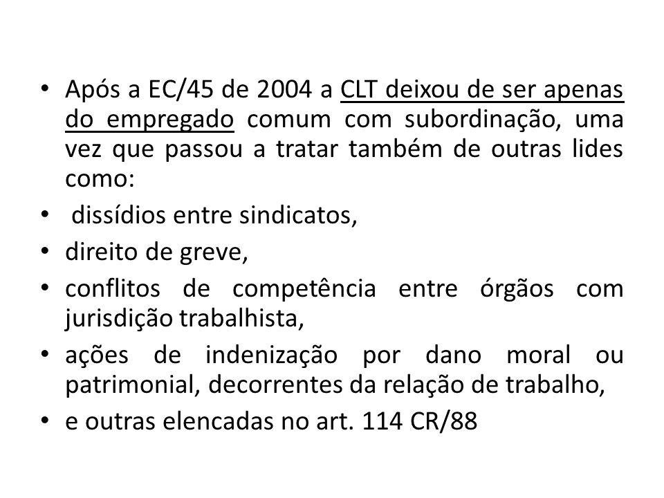 Após a EC/45 de 2004 a CLT deixou de ser apenas do empregado comum com subordinação, uma vez que passou a tratar também de outras lides como: