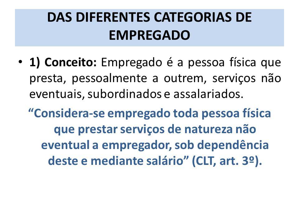 DAS DIFERENTES CATEGORIAS DE EMPREGADO