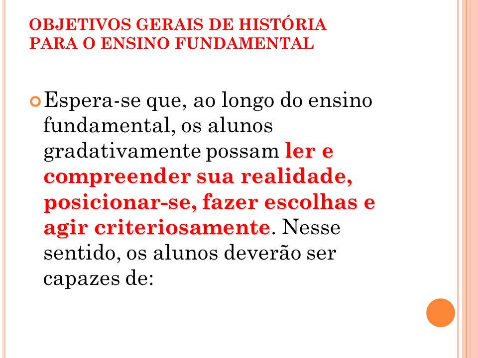 OBJETIVOS GERAIS DE HISTÓRIA PARA O ENSINO FUNDAMENTAL