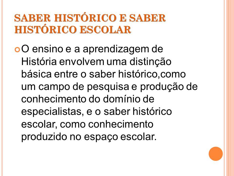 SABER HISTÓRICO E SABER HISTÓRICO ESCOLAR