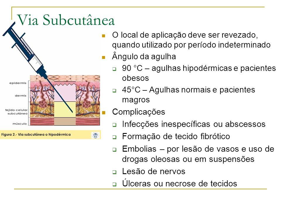Via Subcutânea Complicações Infecções inespecíficas ou abscessos