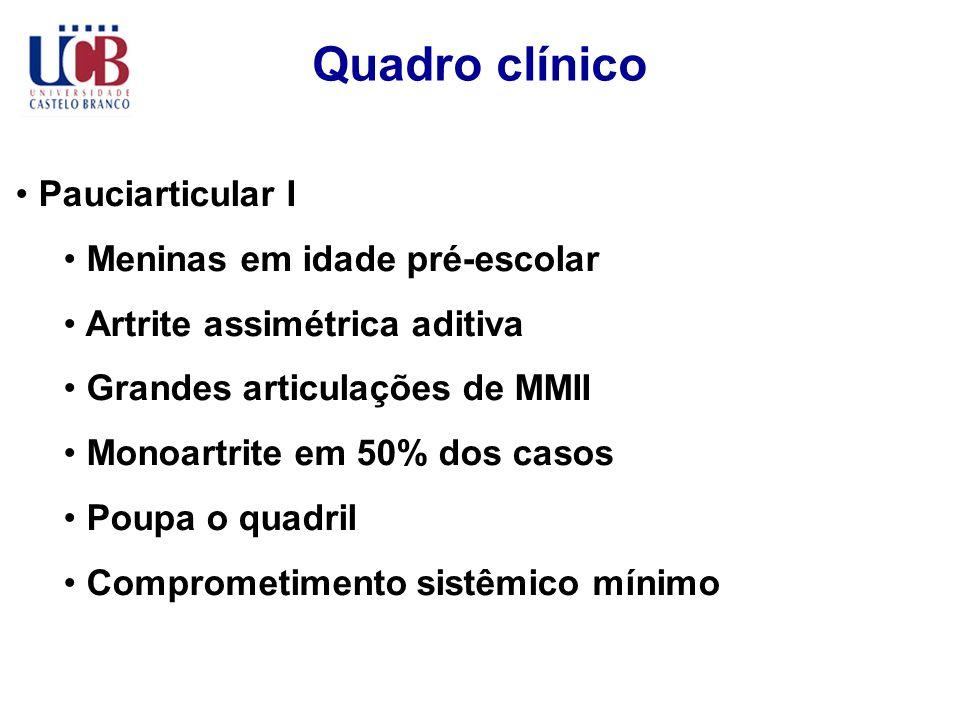 Quadro clínico Pauciarticular I Meninas em idade pré-escolar