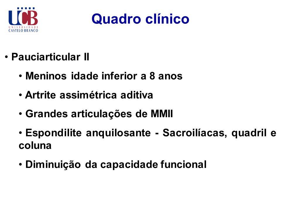 Quadro clínico Pauciarticular II Meninos idade inferior a 8 anos