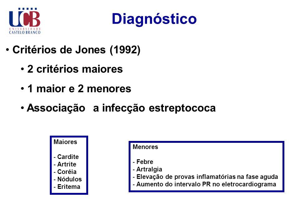 Diagnóstico Critérios de Jones (1992) 2 critérios maiores