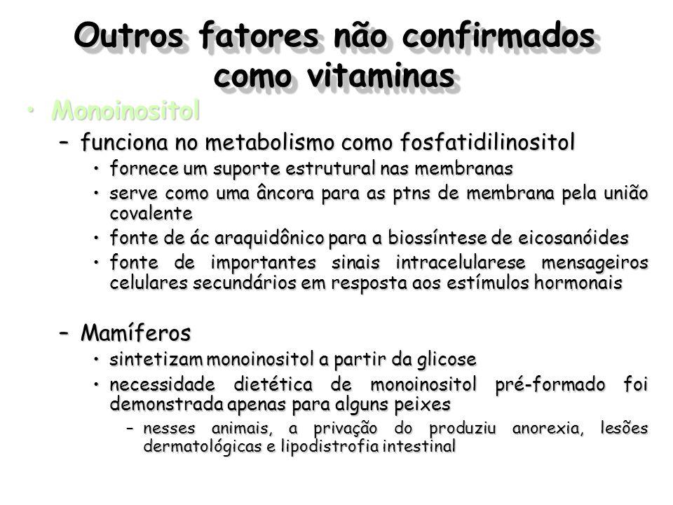 Outros fatores não confirmados como vitaminas