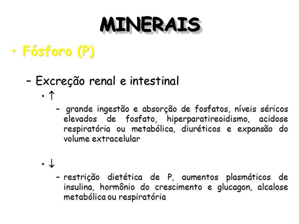 MINERAIS Fósforo (P) Excreção renal e intestinal  