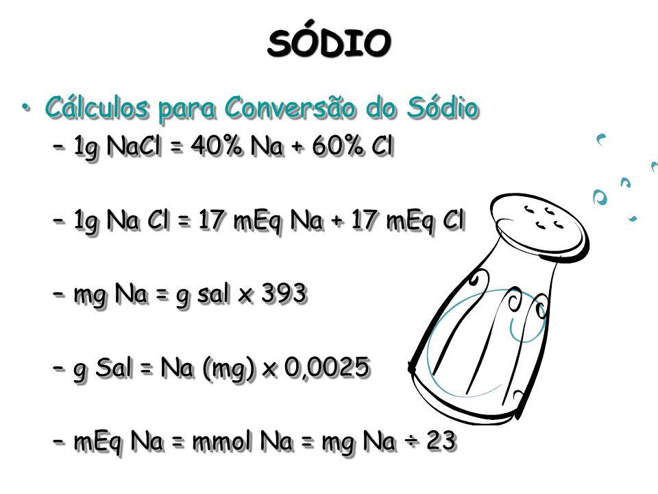 SÓDIO Cálculos para Conversão do Sódio 1g NaCl = 40% Na + 60% Cl