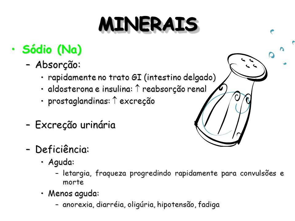 MINERAIS Sódio (Na) Absorção: Excreção urinária Deficiência: