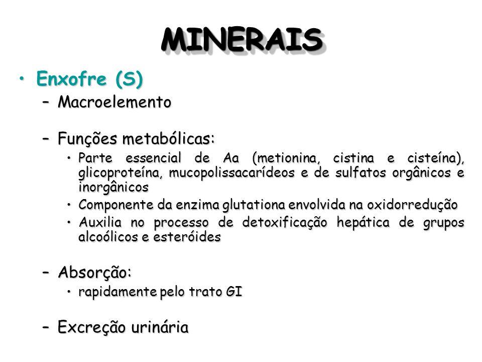 MINERAIS Enxofre (S) Macroelemento Funções metabólicas: Absorção: