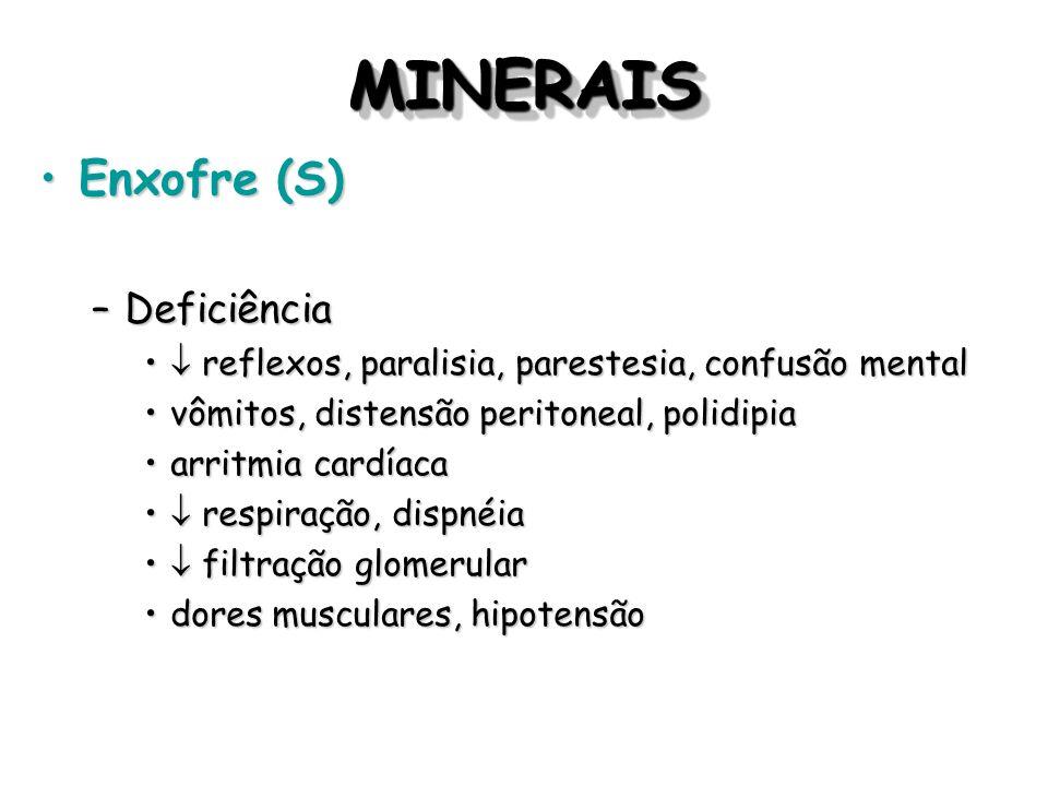 MINERAIS Enxofre (S) Deficiência