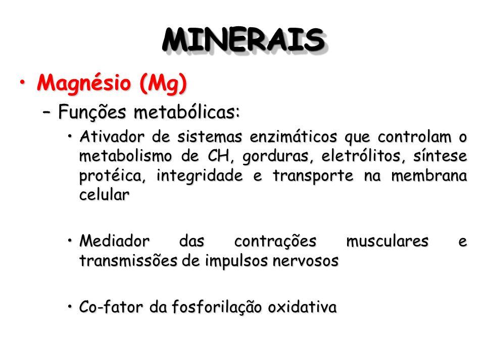MINERAIS Magnésio (Mg) Funções metabólicas: