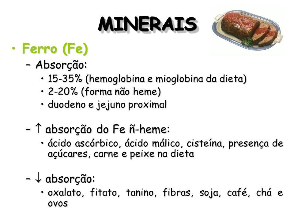 MINERAIS Ferro (Fe) Absorção:  absorção do Fe ñ-heme:  absorção: