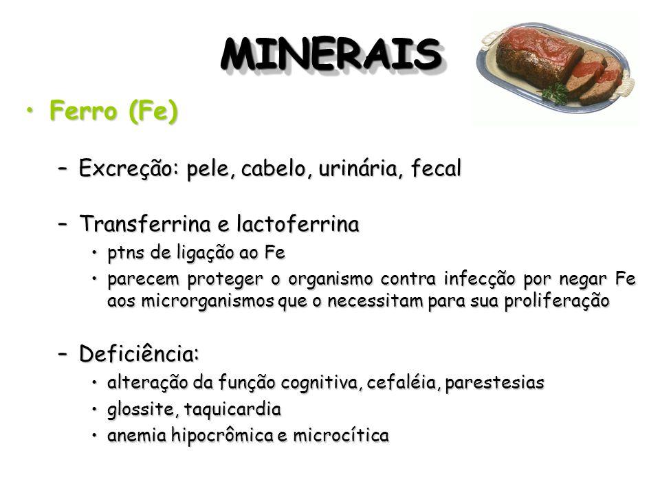 MINERAIS Ferro (Fe) Excreção: pele, cabelo, urinária, fecal