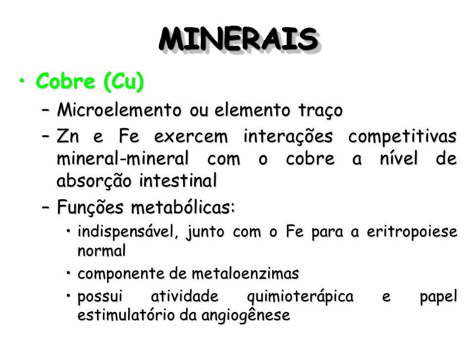 MINERAIS Cobre (Cu) Microelemento ou elemento traço