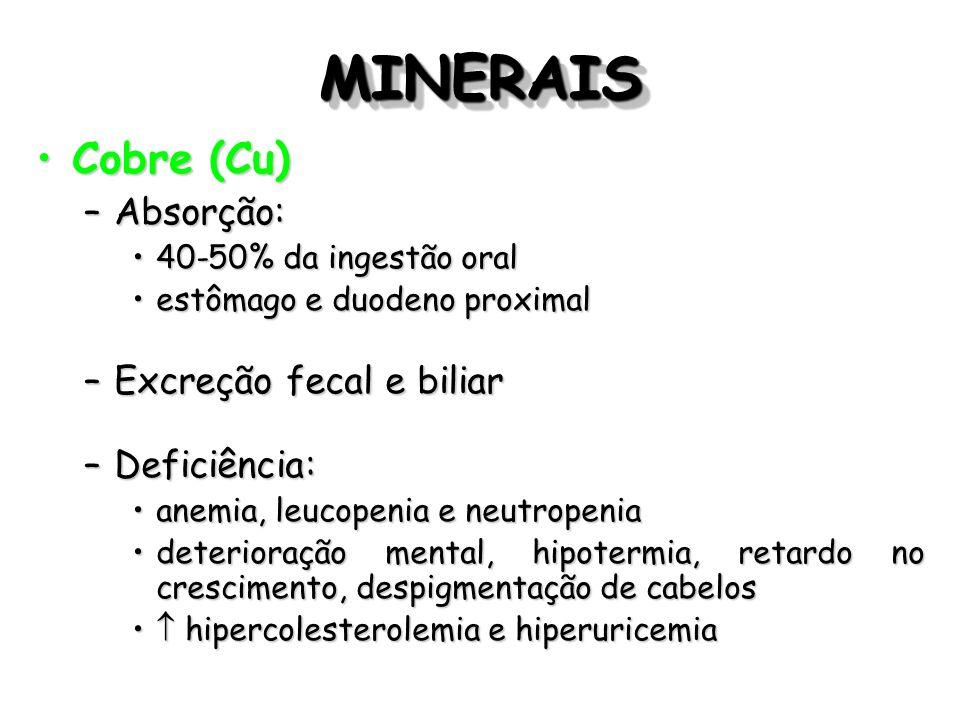 MINERAIS Cobre (Cu) Absorção: Excreção fecal e biliar Deficiência:
