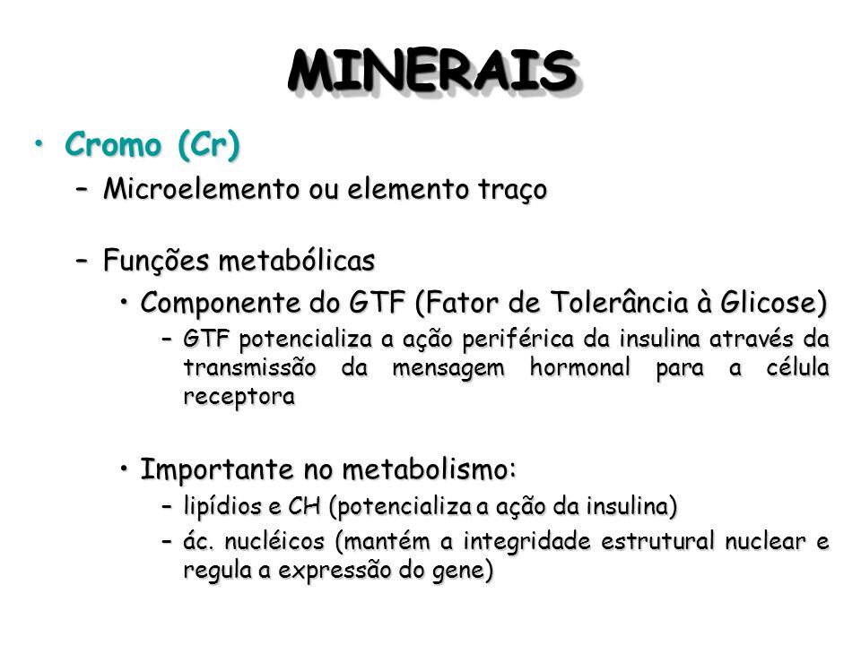 MINERAIS Cromo (Cr) Microelemento ou elemento traço