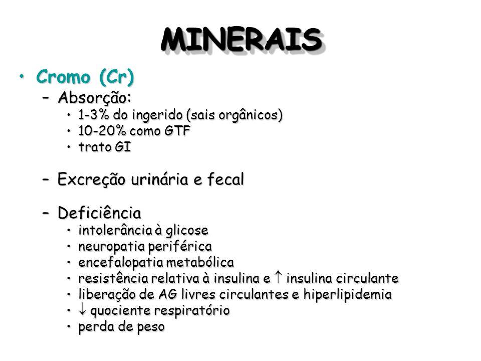 MINERAIS Cromo (Cr) Absorção: Excreção urinária e fecal Deficiência